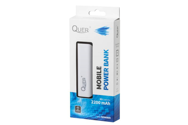 Power Bank 2200mAh Quer z kablem micro USB biały (ZS8013)